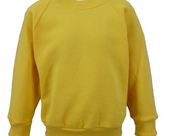 Yellow Sweatshirt, cotton/polyester, raglan sleeves, soft brushed inside for warmth and comfort.   Made in England.  6 childs sizes. W10