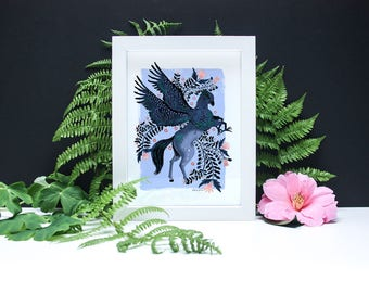Floral Hippogriff- A4 or A3 Artists Print