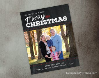 Chalkboard Style Christmas Card with One Photo - Custom Red and White Holiday Card - Wishing you a very Merry Christmas - Printable Option