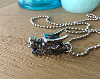 """Stainless Steel Dimensional Dragon Head Pendant on Long Ball Chain Necklace 26"""" or 30"""""""