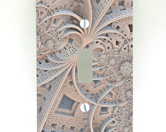 Fractal Lace Pattern Switch Plate Cover - Light Switch / Outlet Cover Custom Plate Choose Style From Menu, D0006