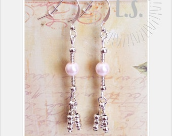 NEW handmade silver plated earrings pale pink