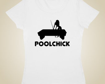 Pool Billiards t shirt PoolChick logo