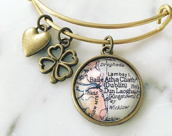 Dublin Ireland Vintage Map Charm Bangle Bracelet - Adjustable Bangle Bracelet - Stacking Bracelet - Traveler Bracelet - Travel Map Bracelet