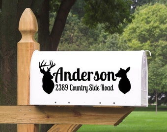 Mailbox Address with Last Name and Deer Vinyl Decal / Wildlife / Deer / Mailbox / Mr & Mrs / DIY / Custom Vinyl Decal / Vinyl Decor / Home