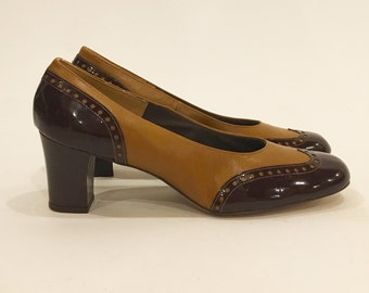 Vintage 70s Patent Spectator Wing Tip Pumps | New Stock | Never Been Worn | Miss Wonderful | Size 10