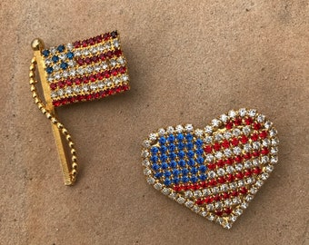 USA Red White and Blue Heart and Flag Vintage Pin Set