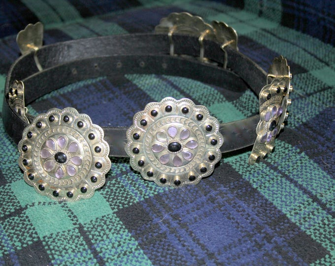 Silver Concha and Black Leather Belt Made in Mexico