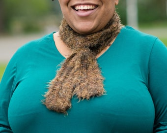 Hand Knit Feathery Brown Scarf
