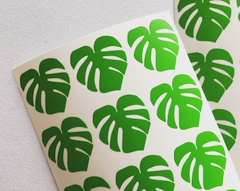 Monstera Leaf Stickers, Swiss Cheese Plant Stickers, Leaves Scrapbooking Sticker, Envelope Seal Stickers, Card Embellishment, Craft Stickers