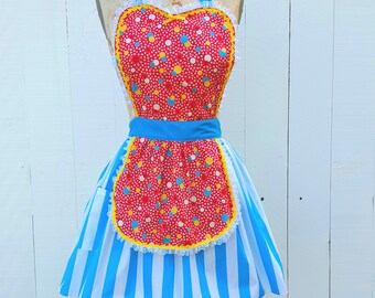 retro apron, retro dot apron, red apron,  womens full apron, bubble print, feedsack print, hostess gift, Lover Dovers
