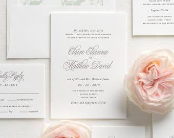 Garden Elegance Letterpress Wedding Invitations - Sample