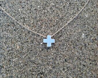 Cross Necklace, Tiny Cross Pendant, Silver Cross