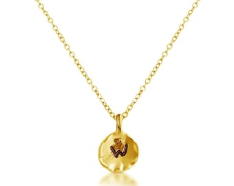Letter W Passion Initial Coin Charm Pendant Necklace #14K Gold Plated over 925 Sterling Silver #Azaggi N0595G_W