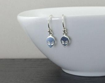 Alien Earrings Sterling Silver Earrings alien ufo science jewelry science fiction dangle earrings dainty earrings gift