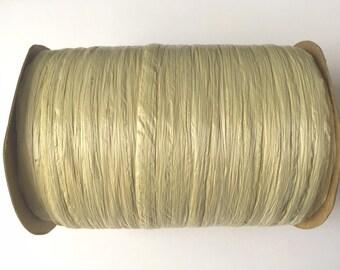 SALE Sage Beige Tan Raffia Ribbon - 100 yards - 1/4 inch wide