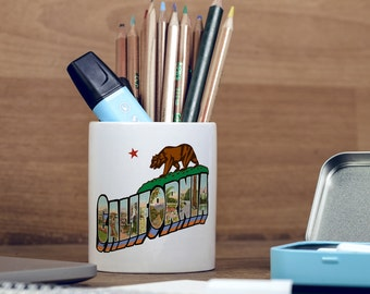 California Flag Vintage Style Bear Star San Francisco Los Angeles Pencil Holder, Pen Pot, Pen Holder, Gift Idea, Children Gift, PP125