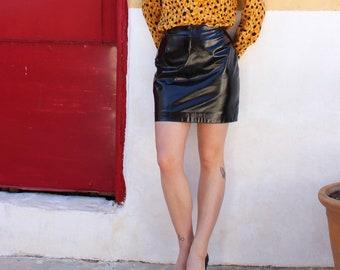 Vintage 1980s patent leather mini skirt