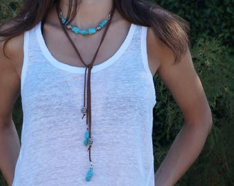 Turquoise long necklace,  long boho necklace,  Summer jewelry, Beaded necklace, Turquoise necklace Free shipping