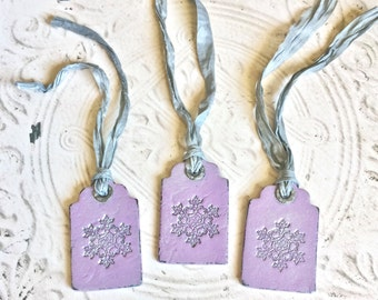 Shabby Chic Lavender Polymer Clay Snowflake Gift Tag Set Christmas Ornaments Distressed Vintage Style Winter Holiday Decor Package Hang Tags