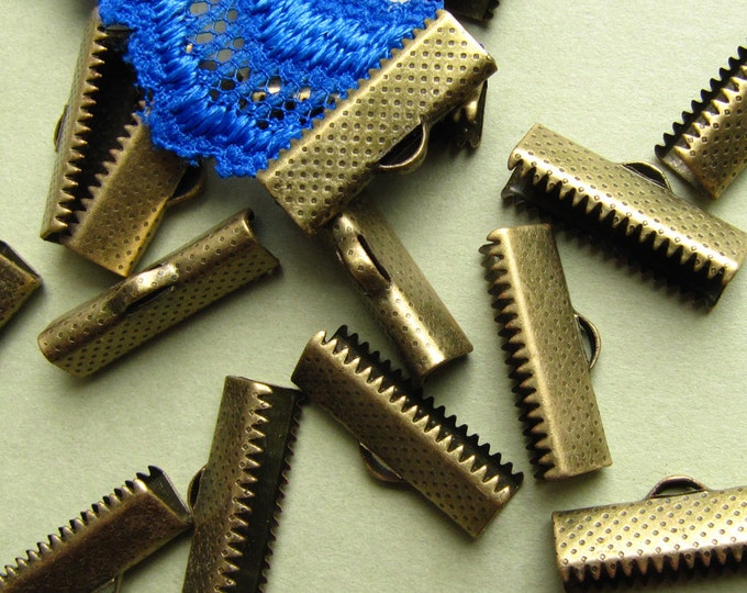 16 pieces 20mm or 3/4 inch Antique Bronze Ribbon Clamp End Crimps