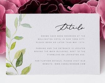 Greenery Wedding Details Card Template Green Leaf Wedding Details Card Wedding Information Card Wedding Insert Card DIY Wedding Template PDF
