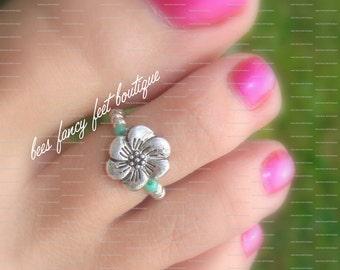 Toe Ring, Ring, Flower Toe Ring, Flower Ring, Silver Toe Ring, Silver Ring, Stretch Bead Toe Ring