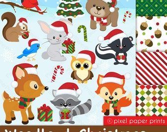 Christmas clipart - Woodland Christmas - Digital paper and clip art set