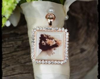 Bouquet Photo Charm Rhinestone ROSE GOLD Pink Square Wedding Bridal Memory Frame Bling