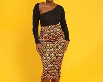 Hasana Stretch African Print Pencil Midi Skirt (yellow/black Kente)
