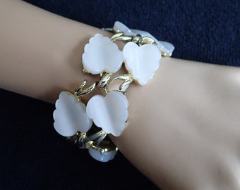 Vintage Coro Moonglow Thermoset Leaf Bracelet