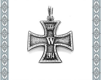 Chain pendant The Iron Cross old silver pendant of German merit-order amulet antique Jewellery Medallion Empire