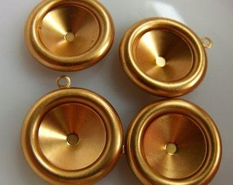 Brass 18mm Rivoli Settings Single Loop 4 Pcs