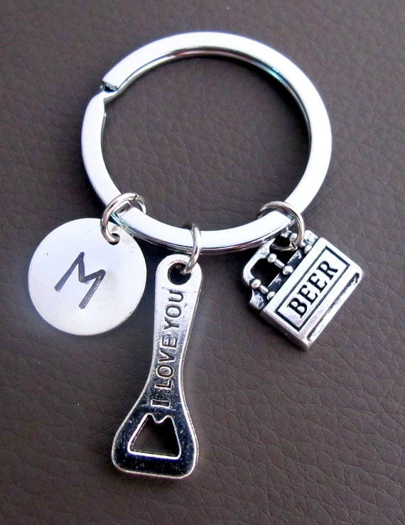 Beer Bottle Opener Keychain, Custom Keychain, Personalized Key Chain, I Love You written on Beer Bottle Opener Charm, Truly a Man's Gift