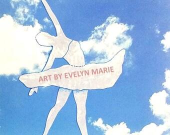 Ballerina art Ballerina in the Sky Ballet art print dancer art sky painting with ballerina in the clouds art print artbyevelynmarie