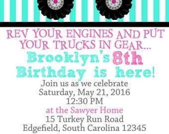 Girly Monster Truck Birthday Party DIGITAL Invitations