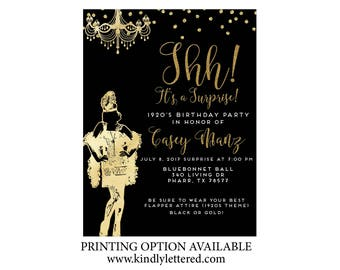 Roaring '20s Invitation-Art Deco Invitation-Great Gatsby Surprise Birthday Invitation-Flirty & Thirty; Forty; Fifty Invitation- Roaring 20s