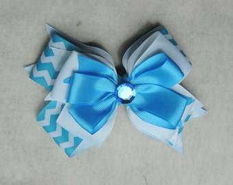 Blue and White Stacked bow