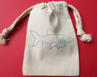 Shark Muslin Party Favor Bags / Set Of 10 / Perfect For Birthday Parties