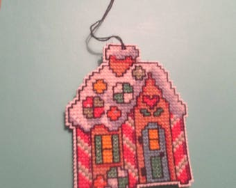 Neddlepoint Gingerbread House Ornament