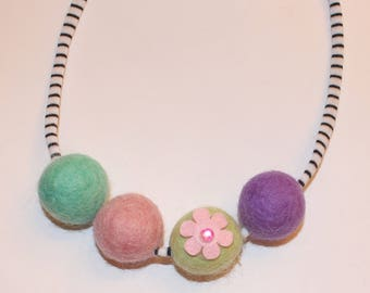 Spring Flower Felted Wool Ball Necklace