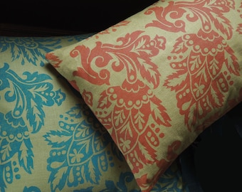 Jacobean Floral hand block printed sea green or burnt orange on light olive linen historical home decor decorative pillow cover