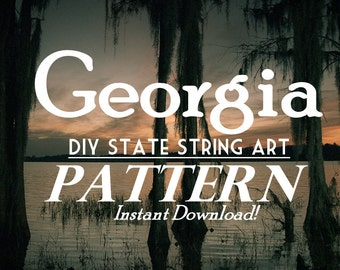 "Georgia - DIY State String Art Pattern - 10"" x 9"" - Hearts & Stars included"