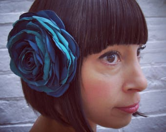 Turquoise green recycled satin rose hair flower corsage fascinator clip