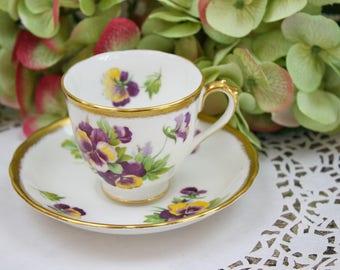 Royal Chelsea Teacup and Saucer Set, Pansy Teacup, Purple and Yellow, Floral Teacup,  English Bone China Tea Set, c1950s, Vintage Tea Party