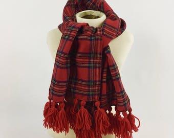 Vintage Red Plaid Wool Scarf - 1940s Winter Scarf - Glentex Merino Wool Scarf - Red Plaid Winter Scarf - Knotted Fringe - Glensder Textiles