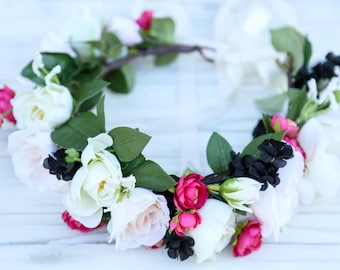 Pastel flower crown with fucsia and black accents,Flower headband, headband, wedding flower crown, bridal flower crown,bohemian flower crown