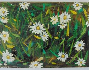 Original Acrylic Painting Daisies