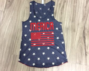 Merica American Flag Tank Top Fourth Of July 4th Of July Memorial Day Labor Day Woman's Tank