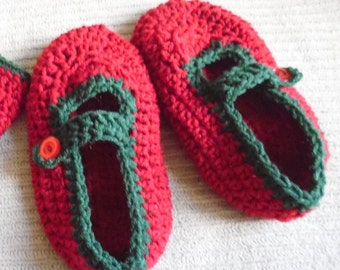 Mary Jane House Shoes & Warmers, Women's 8.5, Red and Green, Slippers, Ready to Ship, Gloves,Arm Warmers,Fingerless Gloves